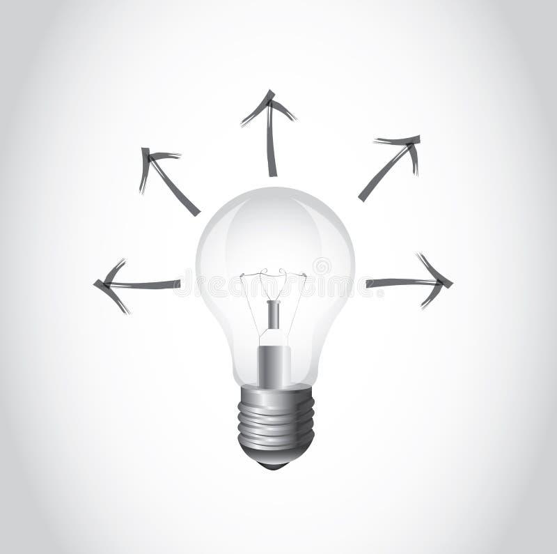Ampoule et flèche illustration de vecteur