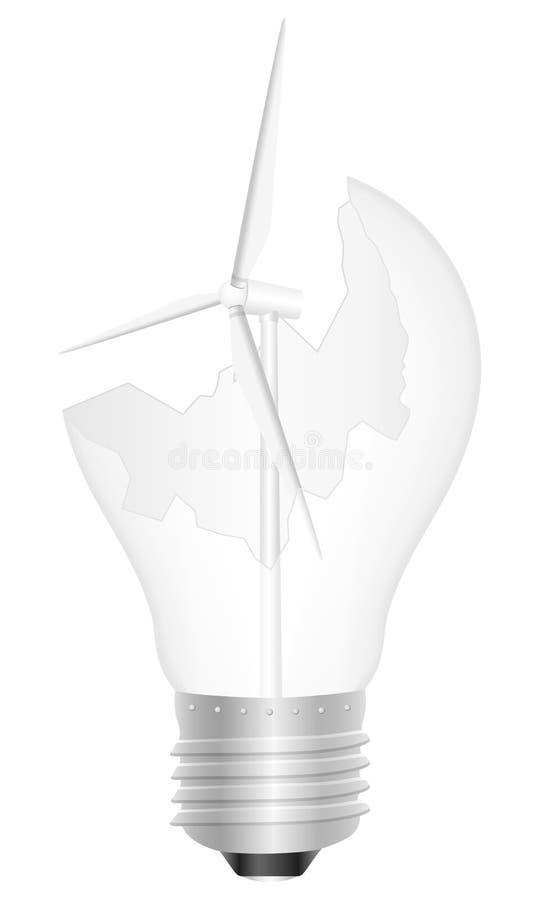 Ampoule et générateur de vent cassés illustration de vecteur