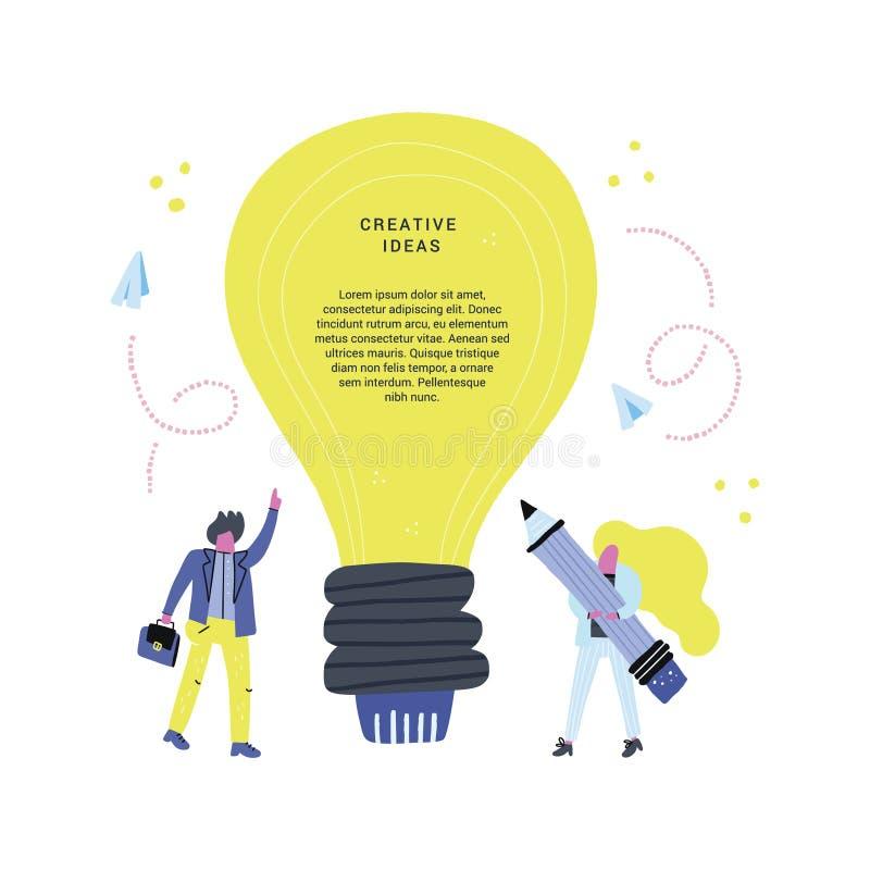 Ampoule et travailleurs illustration de vecteur