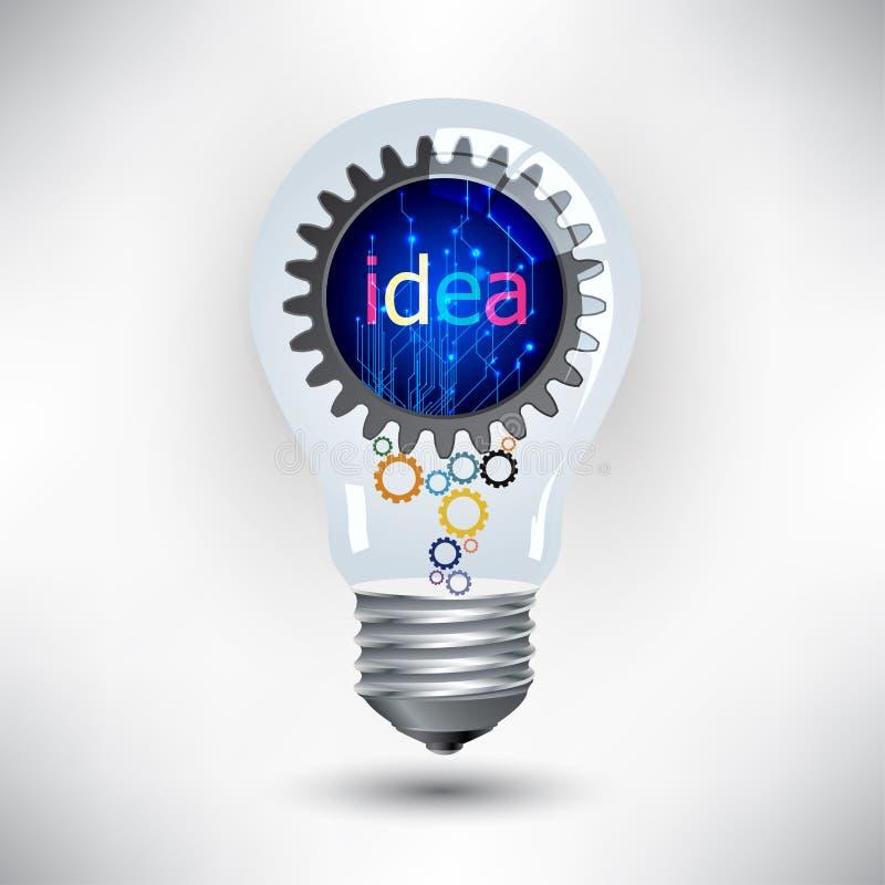 Ampoule et vitesses, travail de mécanisme pour le concept d'idée illustration libre de droits