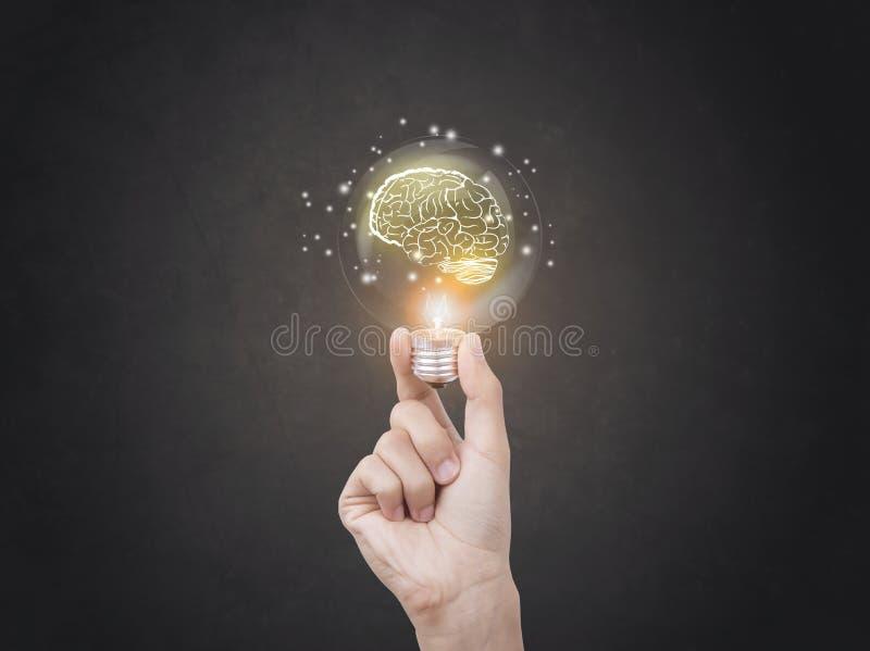 Ampoule faisant un brainstorm l'icône créative d'abrégé sur idée images libres de droits