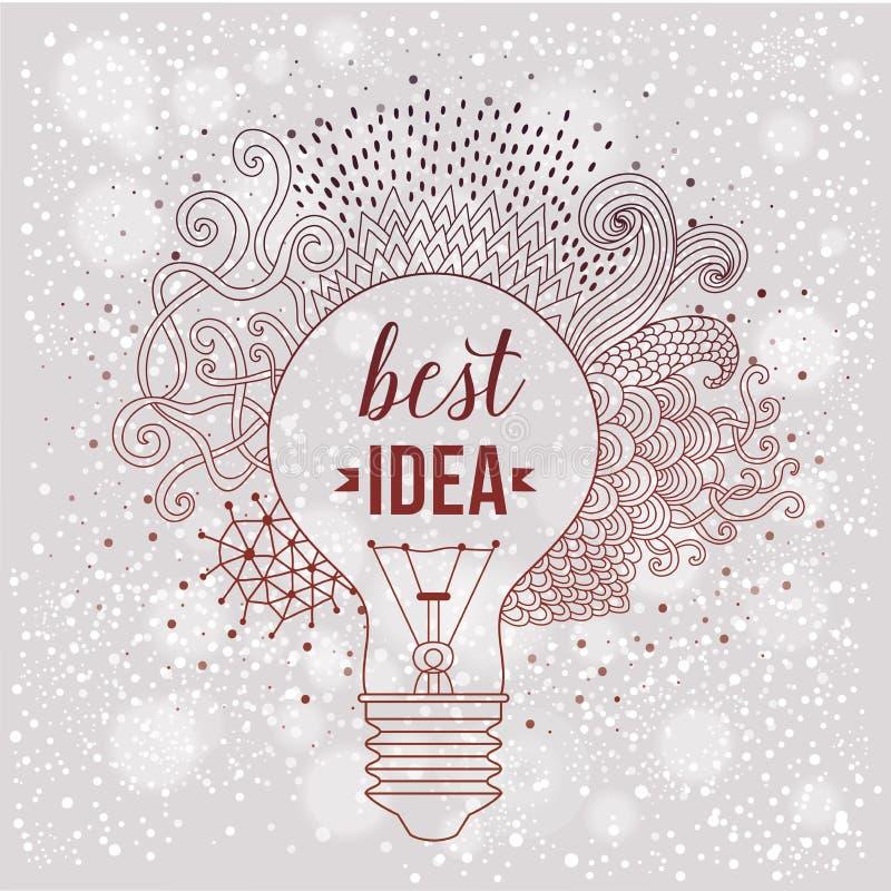 Ampoule faite de griffonnages tirés par la main, concept créatif Concept de vecteur - créativité et idée lettrage guillemet créat illustration de vecteur