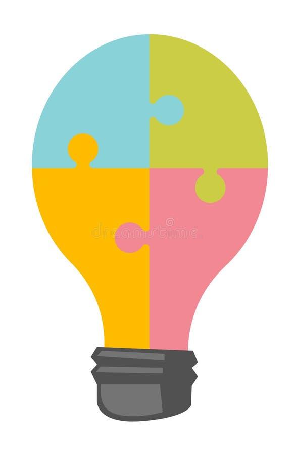Ampoule faite en bande dessinée de vecteur de puzzle denteux illustration libre de droits