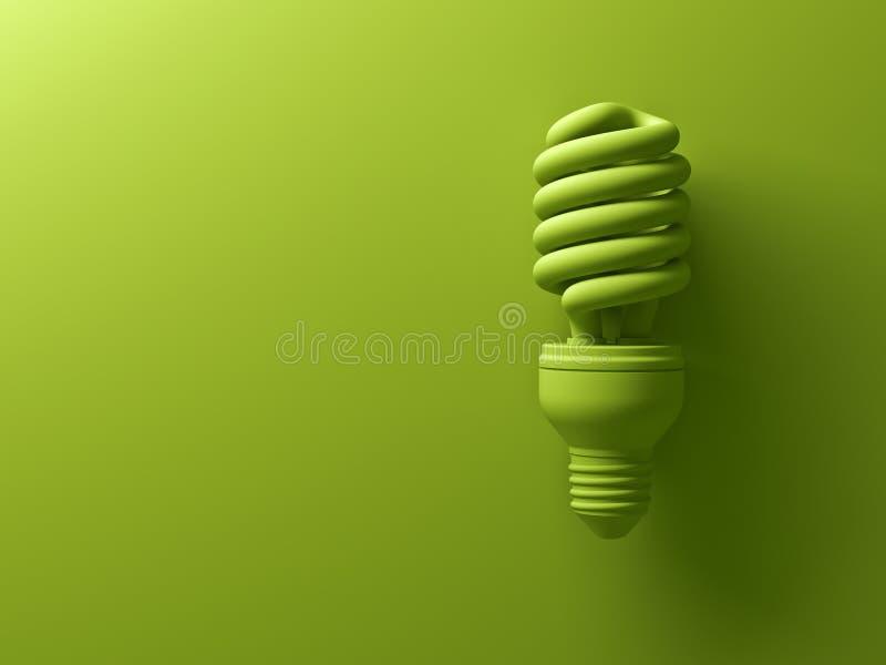 Ampoule fluorescente compacte économiseuse d'énergie d'eco vert d'isolement sur le fond vert illustration libre de droits