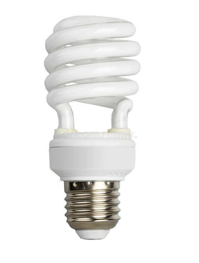 Ampoule fluorescente d'isolement sur le blanc images stock
