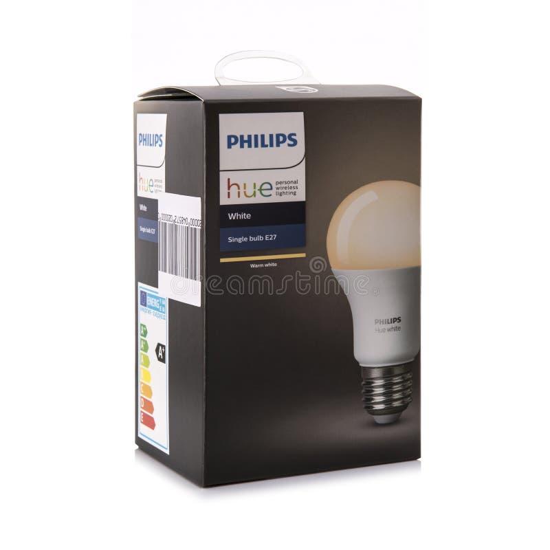 Ampoule futée de Philips Hue White E27, éclairage wirless personnel photographie stock