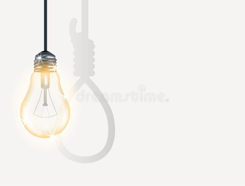 Ampoule incandescente avec le cordage d'armement illustration de vecteur