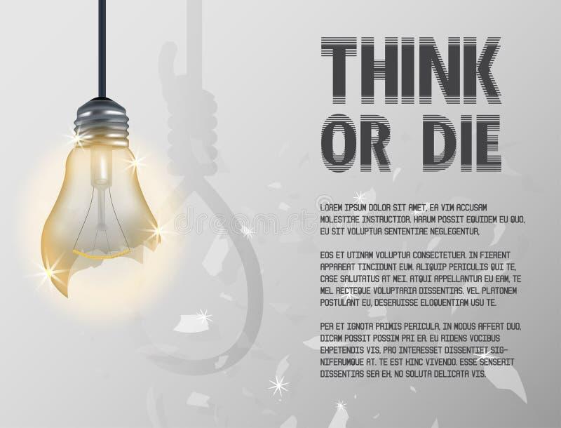 Ampoule incandescente incandescente cassée d'ampoule avec le cordage d'armement illustration de vecteur