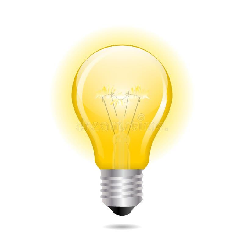 Ampoule jaune rougeoyante comme concept d'inspiration illustration libre de droits