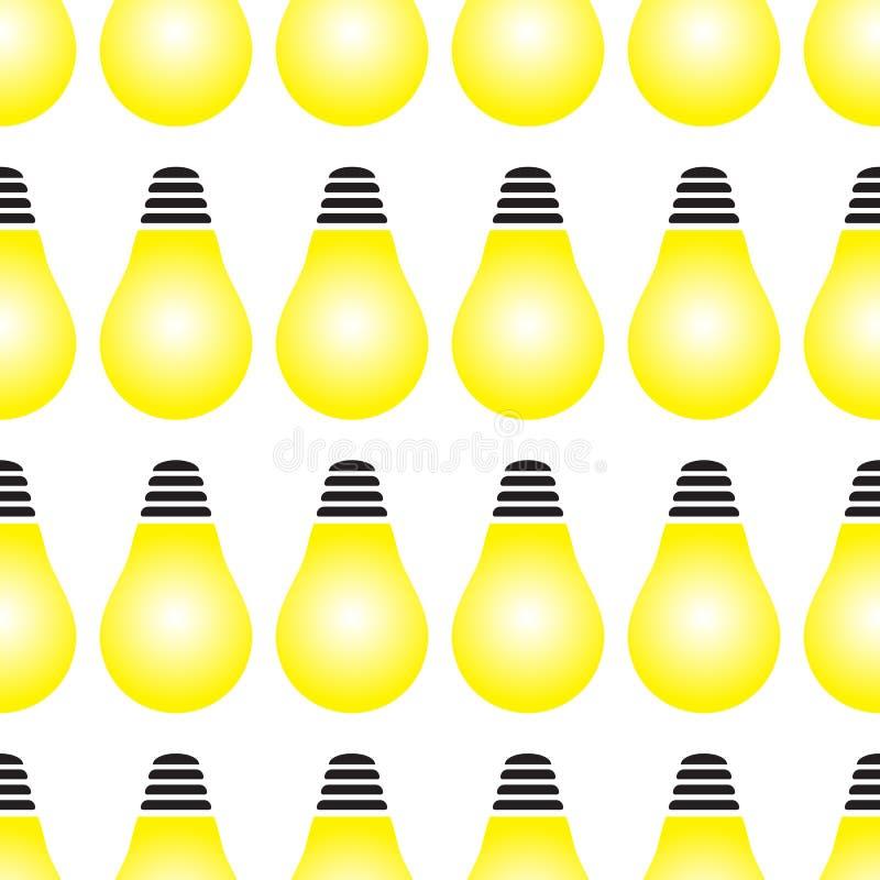 Ampoule jaune rougeoyante en tant que modèle sans couture de concept d'inspiration illustration libre de droits