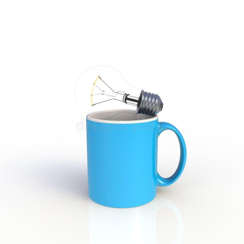 Ampoule légère avec tasse de café bleu isolée sur fond blanc Modèle de validation pour la conception d'application Équipement d'e illustration stock