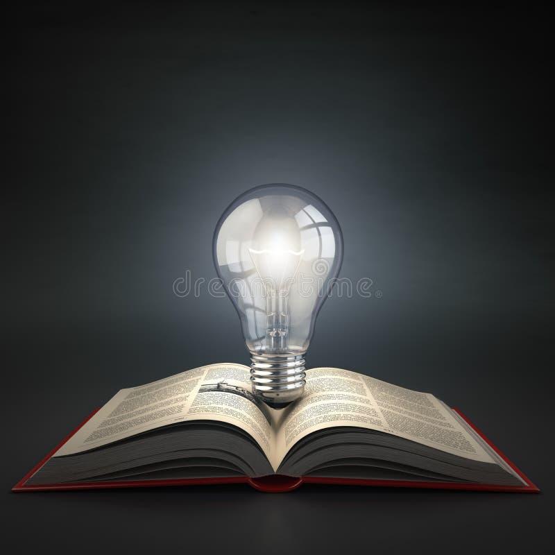 Ampoule lumineuse sur le livre ouvert Idée ou concept de créativité Ed illustration stock