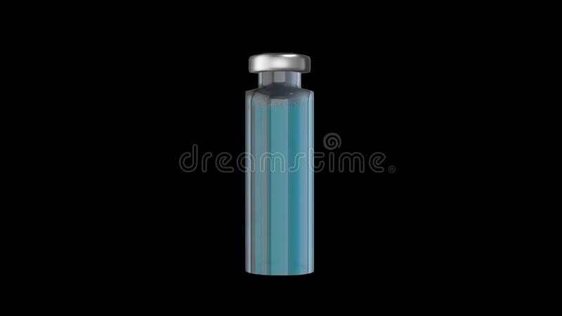 Ampoule médicale pour l'injection avec le liquide bleu d'isolement sur le fond noir rendu 3d illustration stock