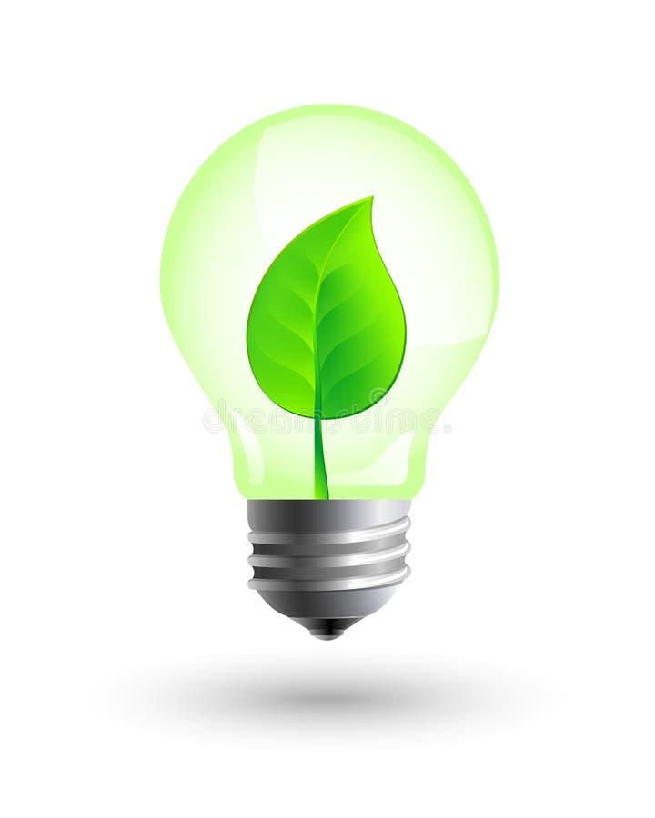 Ampoule réaliste avec la feuille à l'intérieur illustration de vecteur