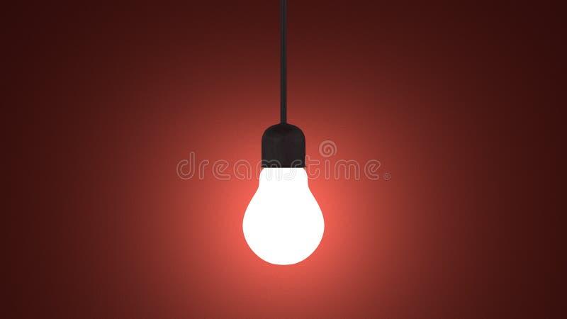 Ampoule rougeoyante dans la douille accrochant sur le rouge illustration libre de droits