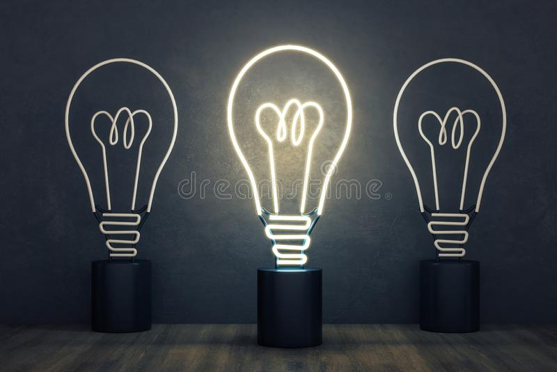 Ampoule rougeoyante de lampe au néon illustration stock