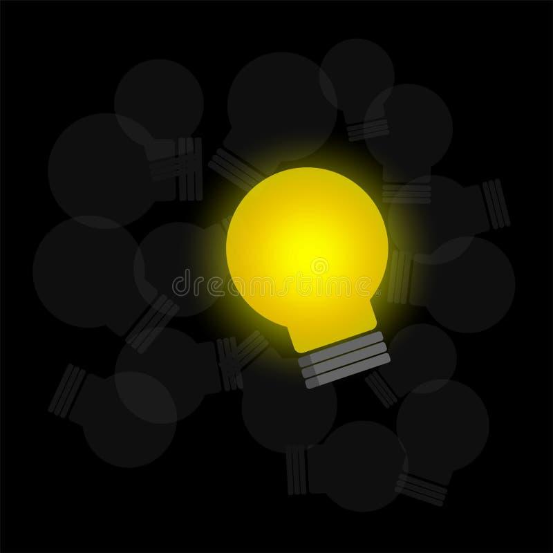 Ampoule rougeoyante et vecteur foncé d'ampoules illustration stock
