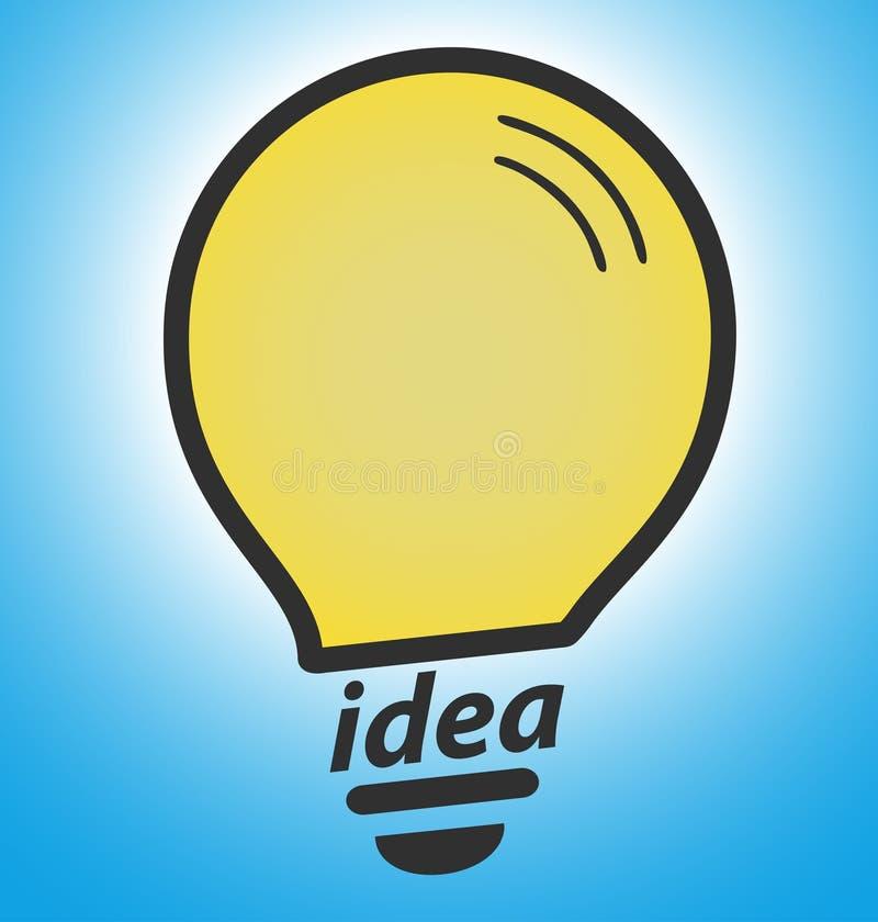 Ampoule sur le fond bleu, concept de succès illustration de vecteur