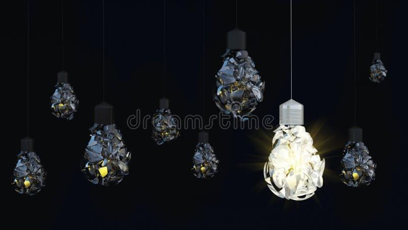 Ampoule sur le fond foncé saletúx illustration stock