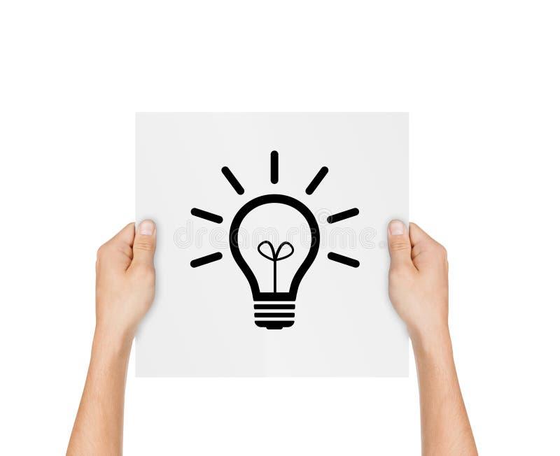 Ampoule tirée par la main avec la boule de papier chiffonnée sur l'affiche de papier a images stock