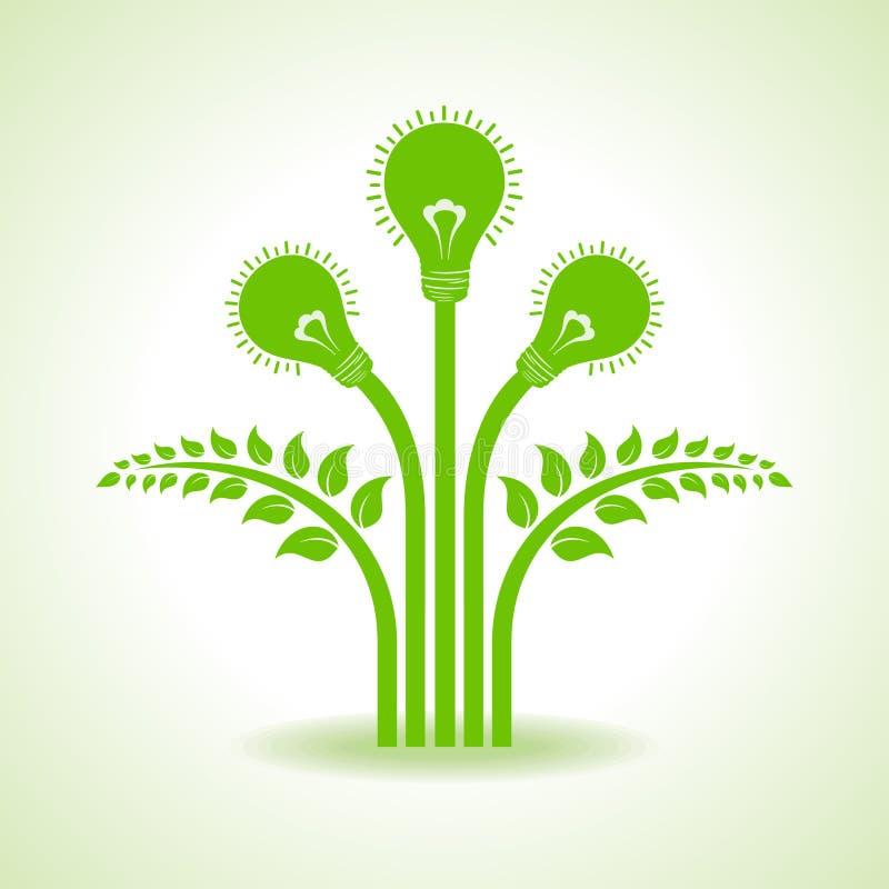 Ampoule verte avec la lame à l'intérieur sur le fond blanc illustration stock