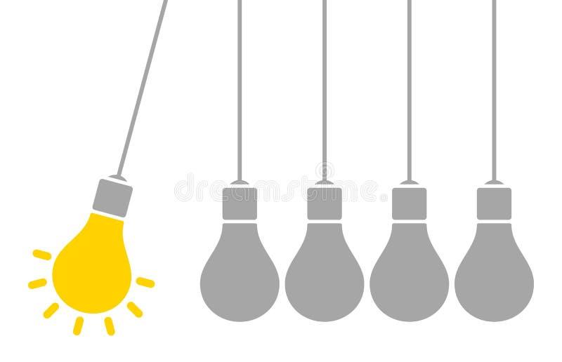 Ampoules accrochantes un jaune et gris brillants d'idée de pendule illustration libre de droits