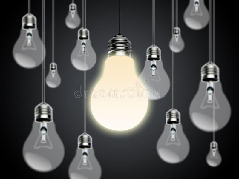 Ampoules avec l'idée Conzept image stock