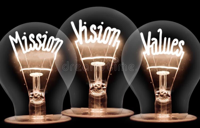 Ampoules avec la mission, vision, concept de valeurs images stock