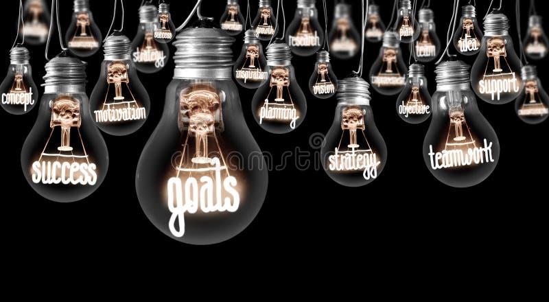 Ampoules avec le concept de buts images stock