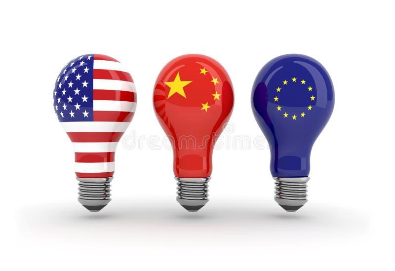 Ampoules avec le drapeau américain, chinois et euro illustration stock