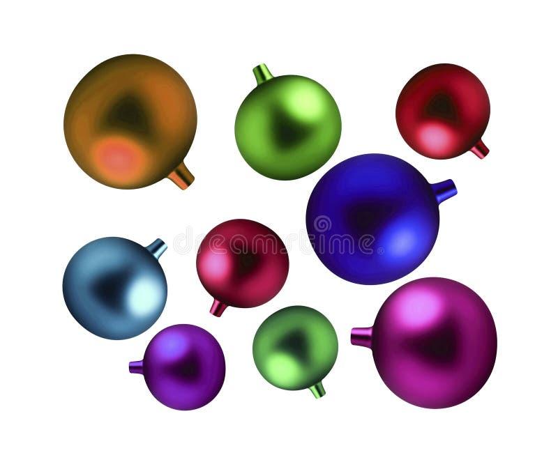 Ampoules colorées de Noël d'isolement images libres de droits
