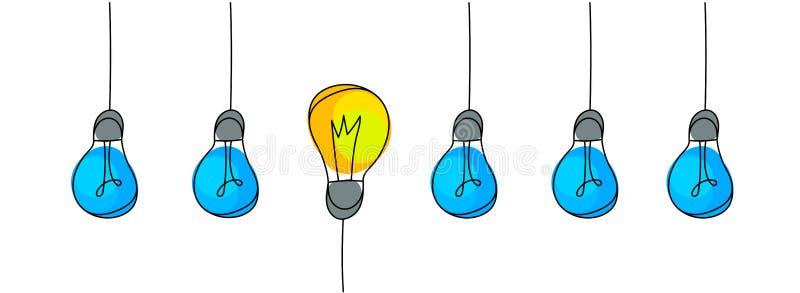 Ampoules, concept d'idée illustration stock