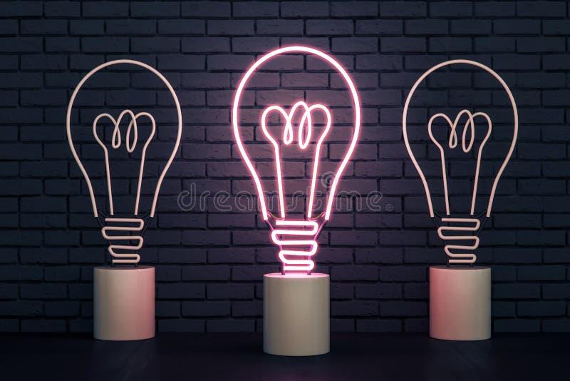 Ampoules de lampe au néon de résumé illustration libre de droits