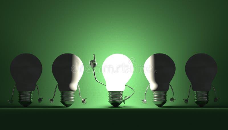 Ampoules, moment d'analyse sur le vert illustration stock