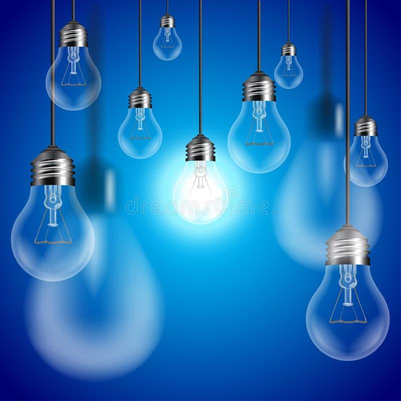 Ampoules sur le vecteur bleu de fond illustration de vecteur