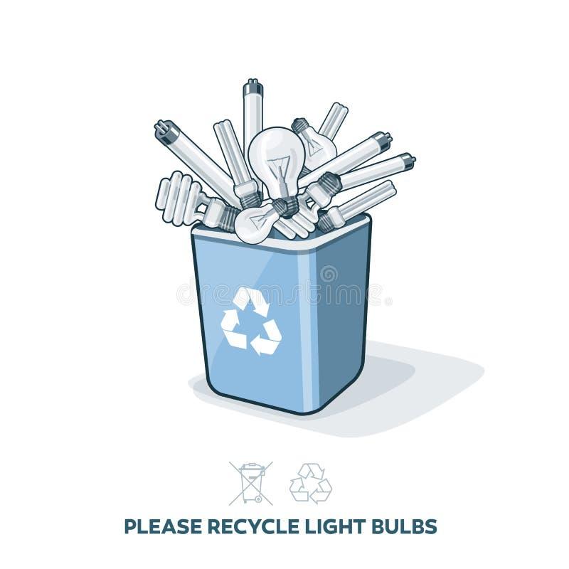 Ampoules utilisées dans le bac de recyclage illustration de vecteur