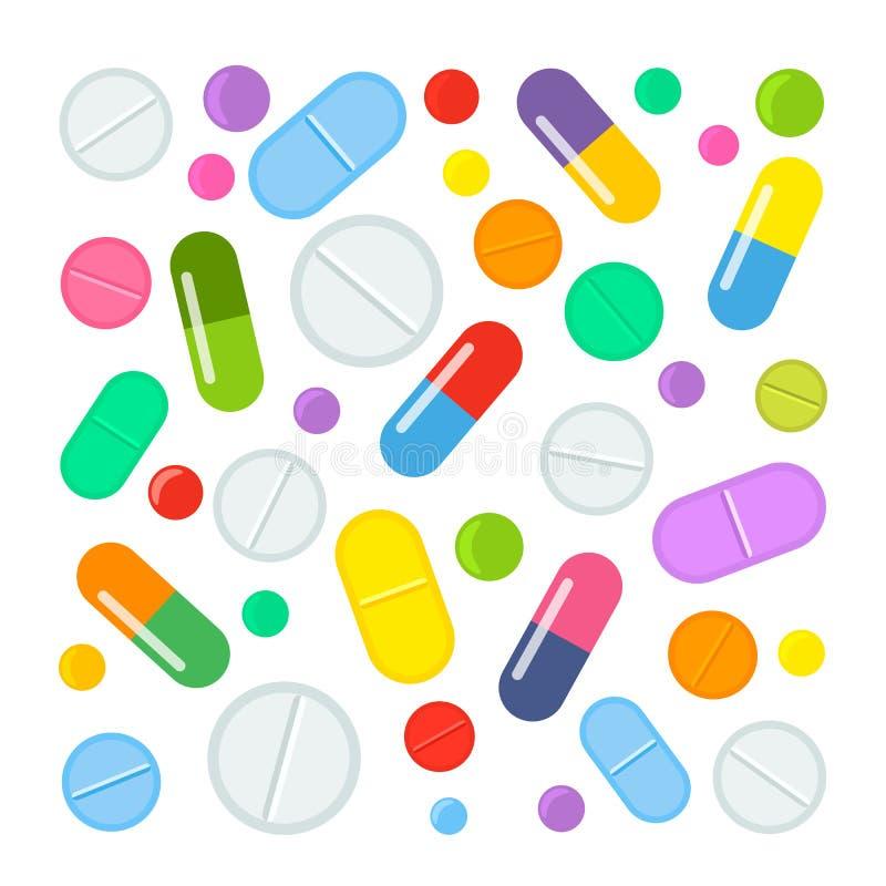 Ampuła ustawiająca kolorowe pastylki i różnorodne medyczne kapsuły leki Płaska ilustracja odizolowywająca na białym tle ilustracja wektor