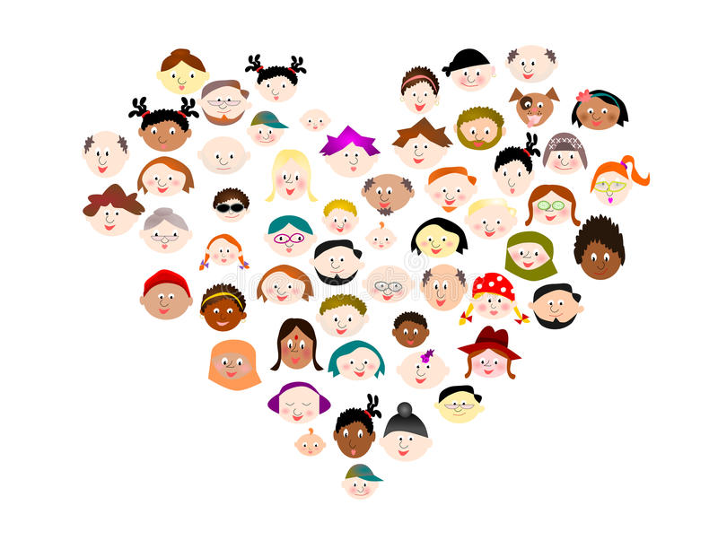 Ampuła grupuje różnorodnych szczęśliwych ludzi ilustracji