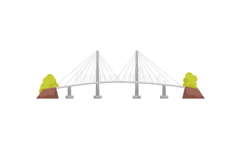 Ampuła i długiego zawieszenia kablowy most Metal struktura dla krzyżować rzekę Budowa dla transportu mieszkanie royalty ilustracja