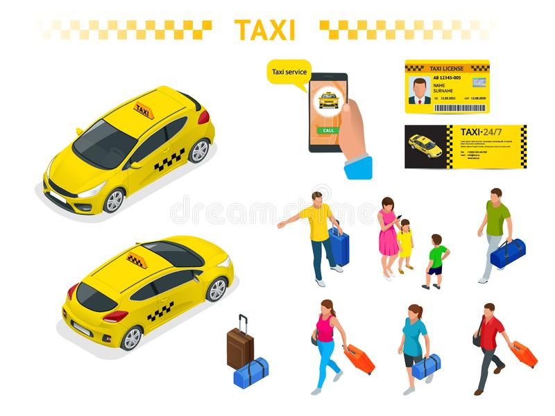 Ampuła ustawiająca izomeryczni wizerunki taxi samochód, podróżni ludzie z bagażem, mobilny taxi wezwania zastosowanie, taxi royalty ilustracja