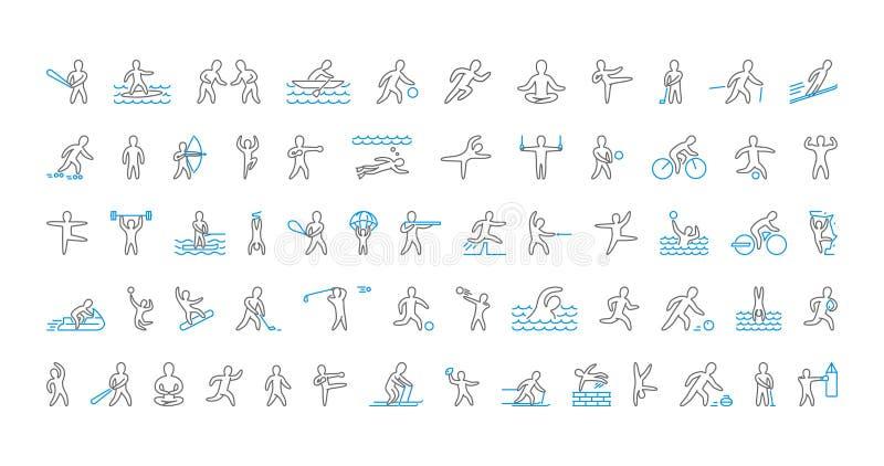 Ampuła wykłada set sport ikony Wektorowy liniowy symbol sportsme royalty ilustracja