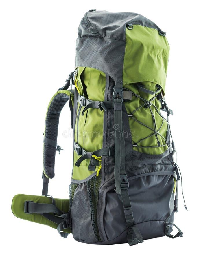 Ampuła zielenieje turystycznego plecaka odizolowywającego na bielu zdjęcie royalty free