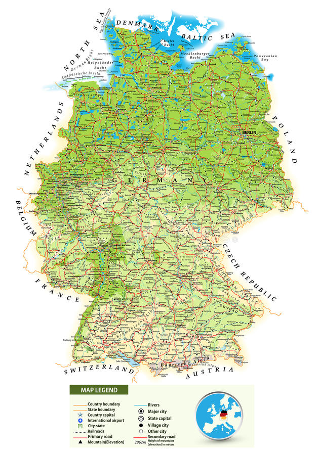 Ampuły szczegółowa fizyczna mapa Niemcy royalty ilustracja
