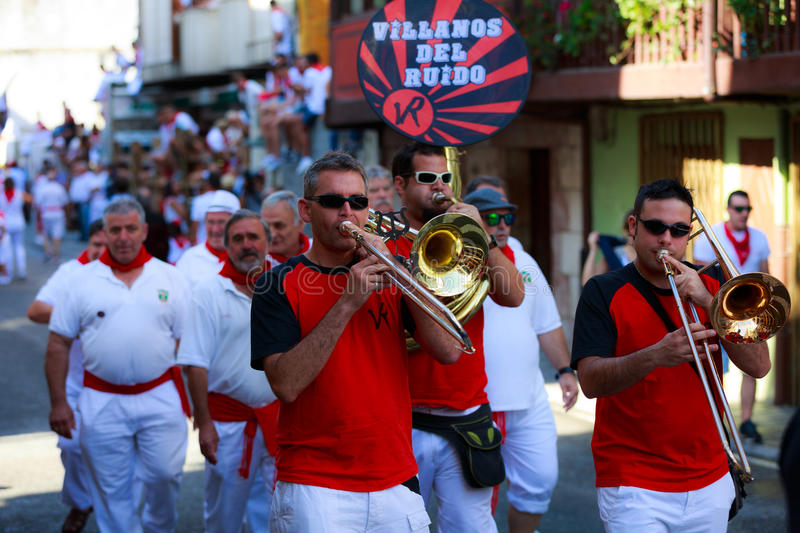 AMPUERO, SPAIN - SEPTEMBER 10: Unidentified group of musicians with a saxophone before the Bull Run on the street during festival. In Ampuero, celebrated on stock photo