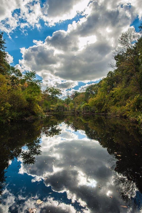Ampulheta com água, as árvores e as nuvens fotografia de stock royalty free