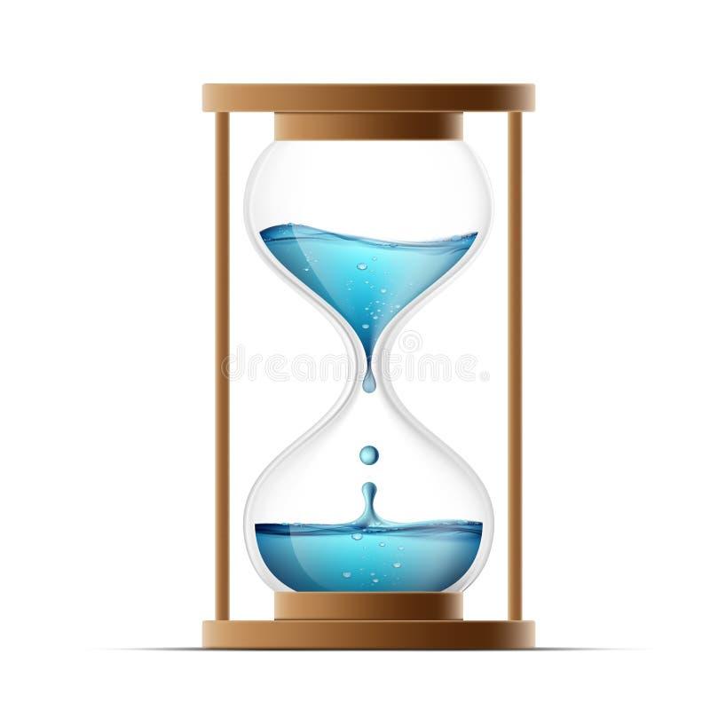 Ampulheta com água Molhe gotejamentos no relógio countdown Iso ilustração stock