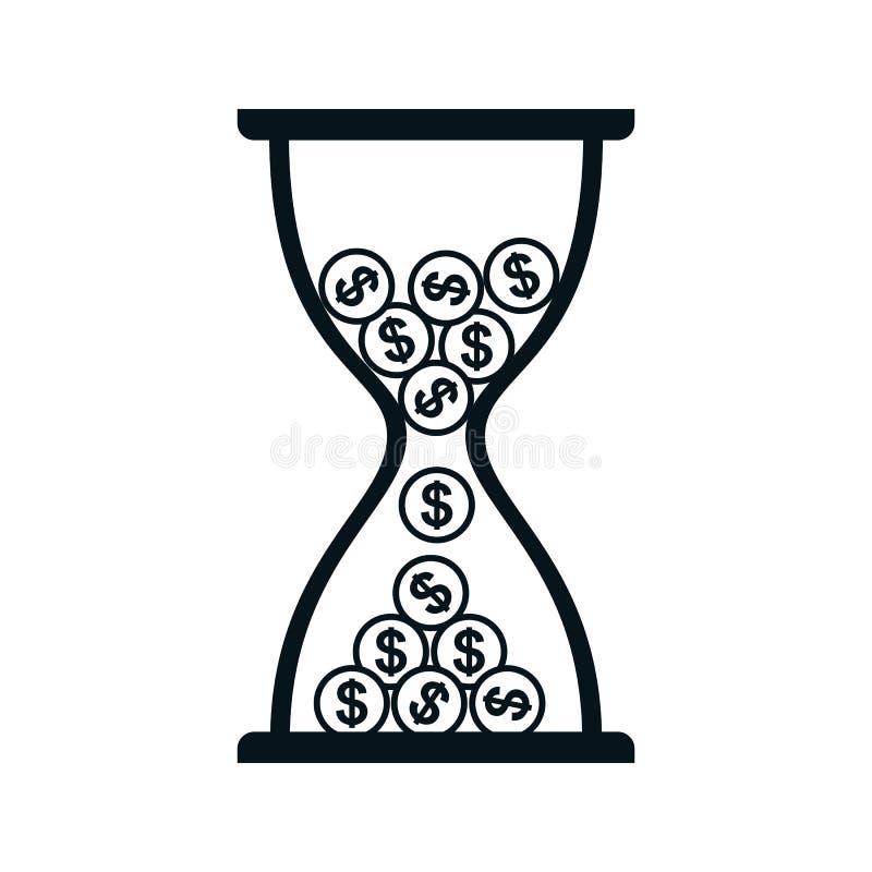 Ampulheta com ícone das moedas, Tempo é dinheiro - vetor ilustração royalty free