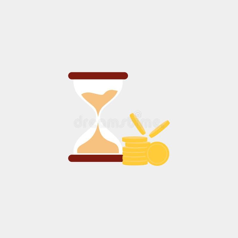 Ampulheta com ícone das moedas Tempo Ilustração do vetor Eps 10 ilustração royalty free