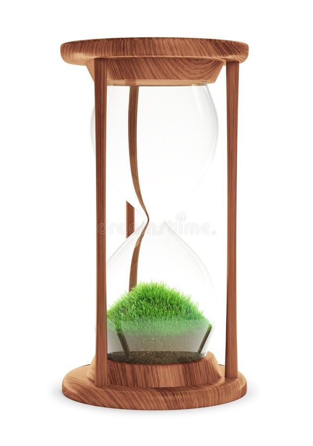Ampulheta com o remendo da grama para dentro ilustração royalty free