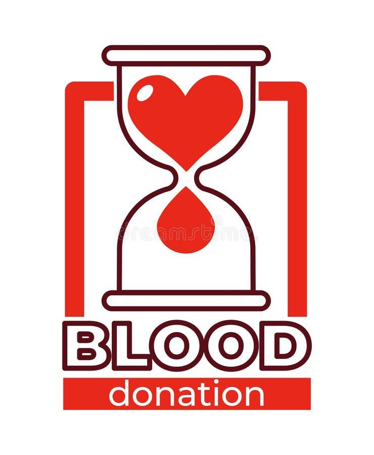 Ampulheta e coração isolados caridade do ícone da doação de sangue ilustração royalty free